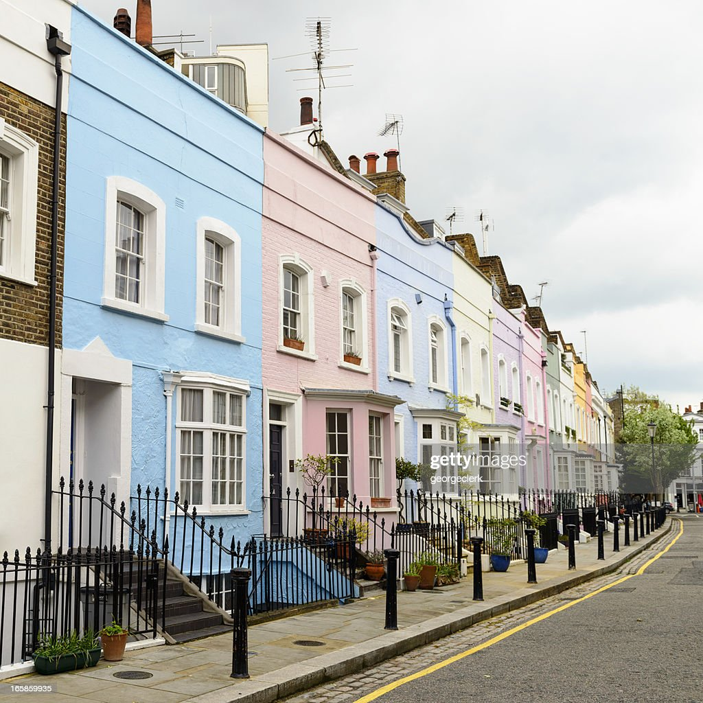 カラフルな家の Chelsea ,London : ストックフォト