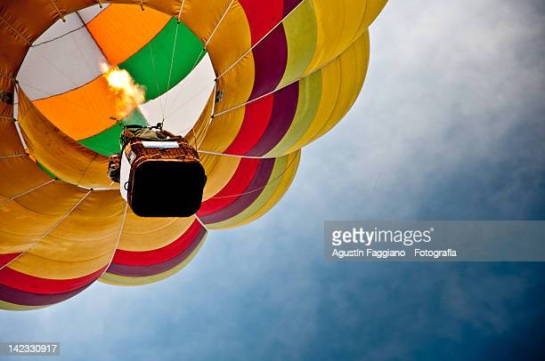 colourful hot air balloon - balloon ride stock pictures, royalty-free photos & images