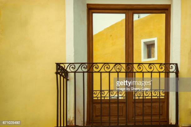 Colourful house with balcony in Villa Joyosa, Spain