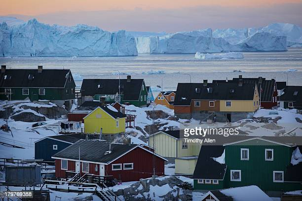 Colourful houses and blue icebergs in Greenland