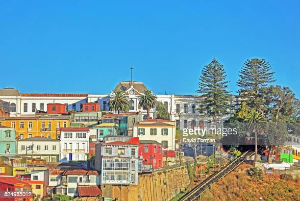 Colourful houses and funicular near port, Valparaiso, Chile.