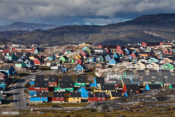 Colourful houses at the town Ilulissat / Jakobshavn, Disko-Bay, Greenland.
