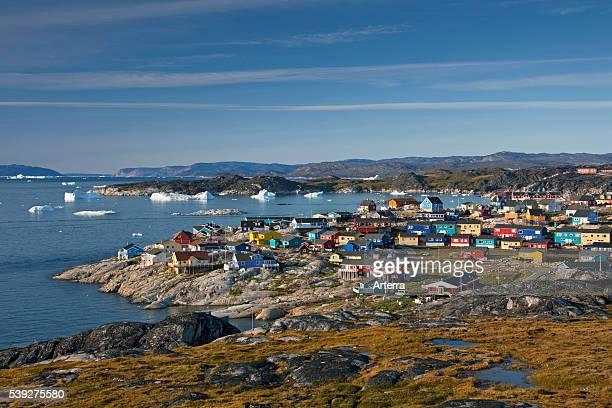 Colourful houses at the town Ilulissat / Jakobshavn DiskoBay Greenland