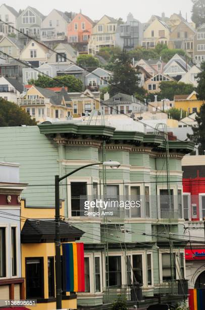 colourful houses in castro, san francisco - castro district stock pictures, royalty-free photos & images