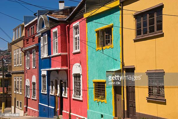 colourful houses in cerro conception. - valparaiso chile stock pictures, royalty-free photos & images