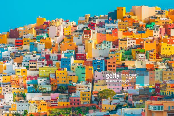 colourful houses in las palmas gran canaria spain - las palmas de gran canaria stock pictures, royalty-free photos & images