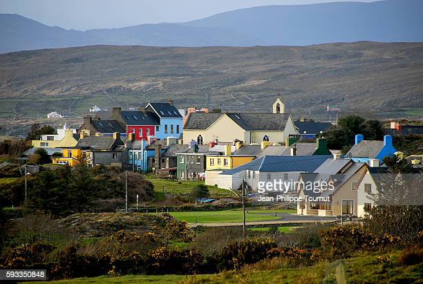Colourful houses of a village in western Ireland