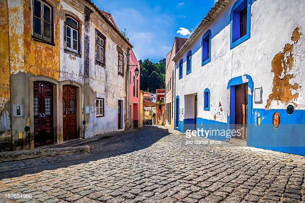 colourful houses - monchique stock pictures, royalty-free photos & images