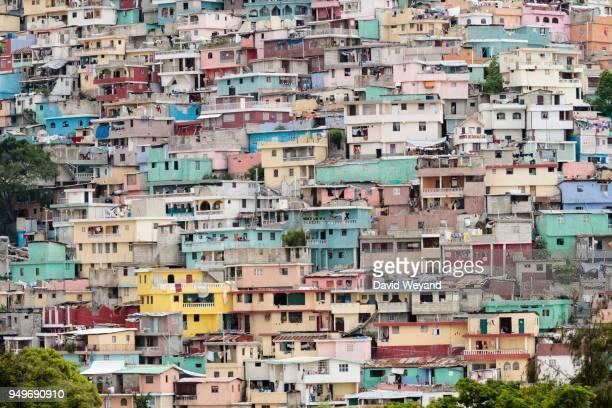 colourful houses, slum jalousie, petionville, port-au-prince, ouest, haiti - port au prince stock pictures, royalty-free photos & images