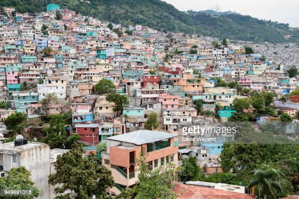 Colourful houses, slum Jalousie, Petionville, Port-au-Prince, Ouest, Haiti