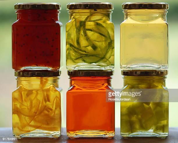 Colourful Jam Pots