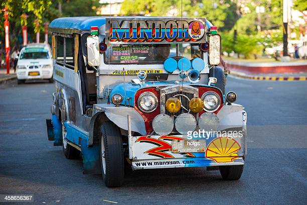 colourful jeepney vehicle in metro manila philippines - jeepney stock pictures, royalty-free photos & images