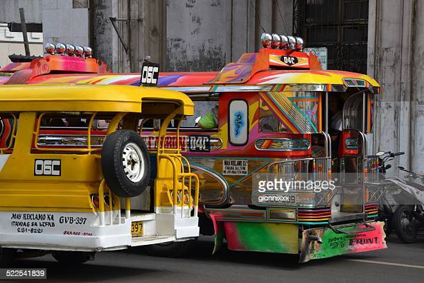 colourful jeepneys in cebu city, philippines - jeepney stock pictures, royalty-free photos & images