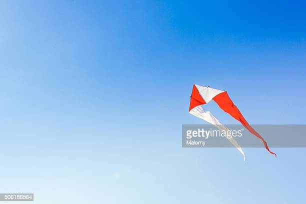Colourful kites, blue sky. Low Angle View.
