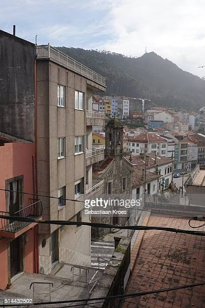 Colourful La Guardia, Church Façade and Santa Tecla Mountain, Spain