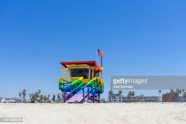 Colourful Lifeguard tower at Venice Beach, Los Angeles