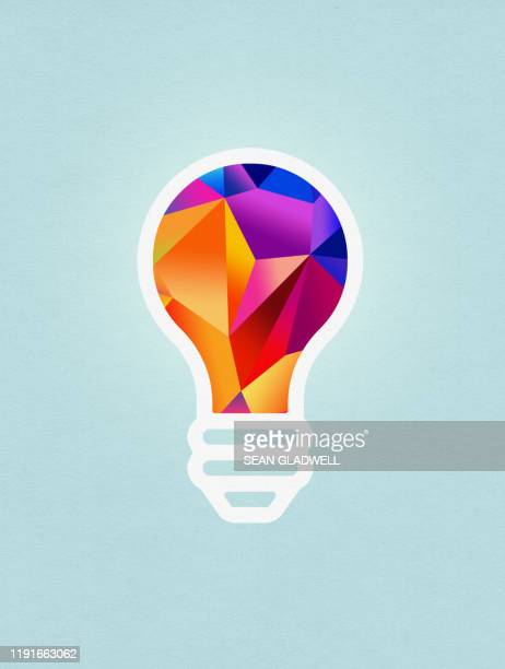 colourful light bulb graphic - logo stock pictures, royalty-free photos & images