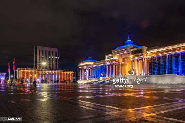 Colourful lights of the monument to Chinggis Khaan at Sukhbaatar Square in Ulaanbaatar, Mongolia.