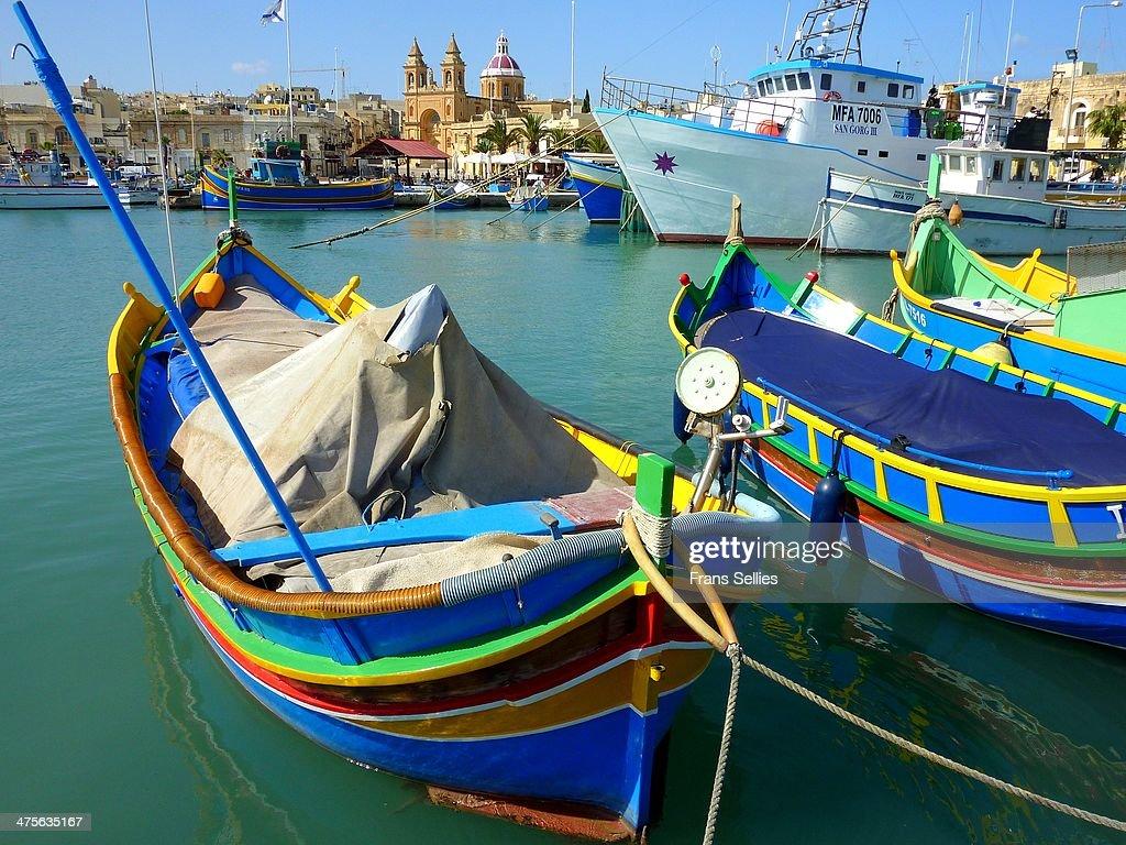 In the harbor of Marsaxlokk, Malta : Nieuwsfoto's