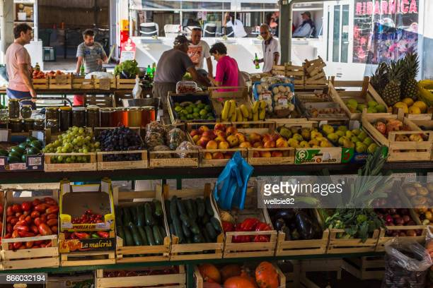 colourful market in hvar town - hvar stock photos and pictures