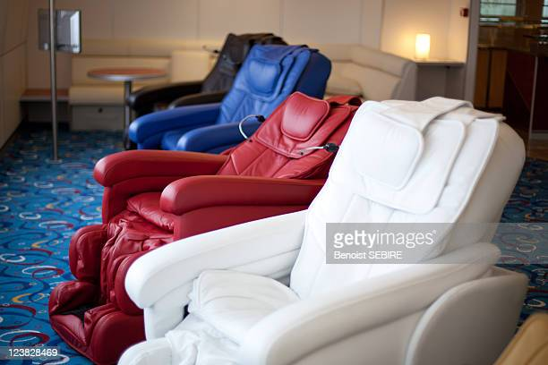 Colourful massage chairs