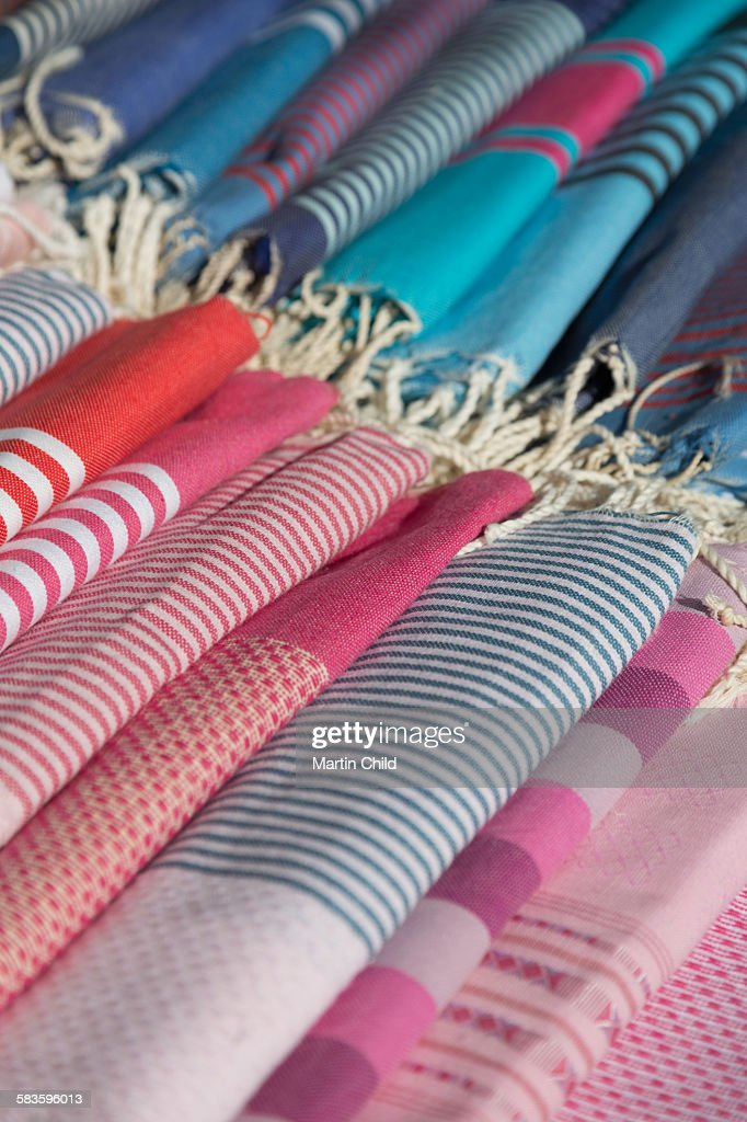 Colourful material in Cassis street market : Stock Photo