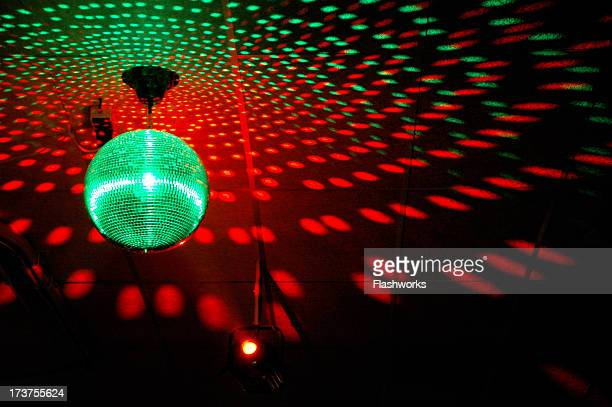 Colourful mirrorball in disco