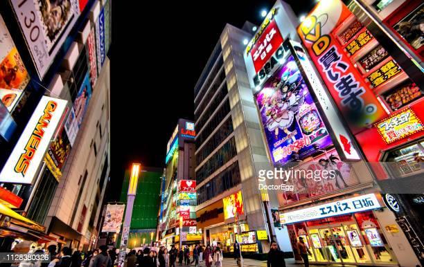 Colourful Neon Light Signs At Akihabara Tokyo Japan Stock