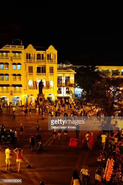 Colourful night view of Plaza de los Coches, Cartagena, Colombia