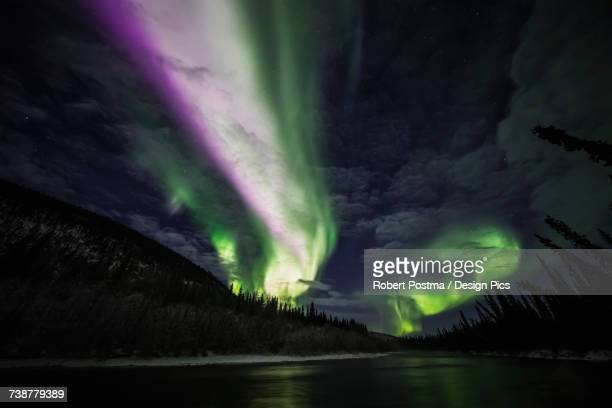 Colourful northern lights glowing in the night sky above a lake and forest