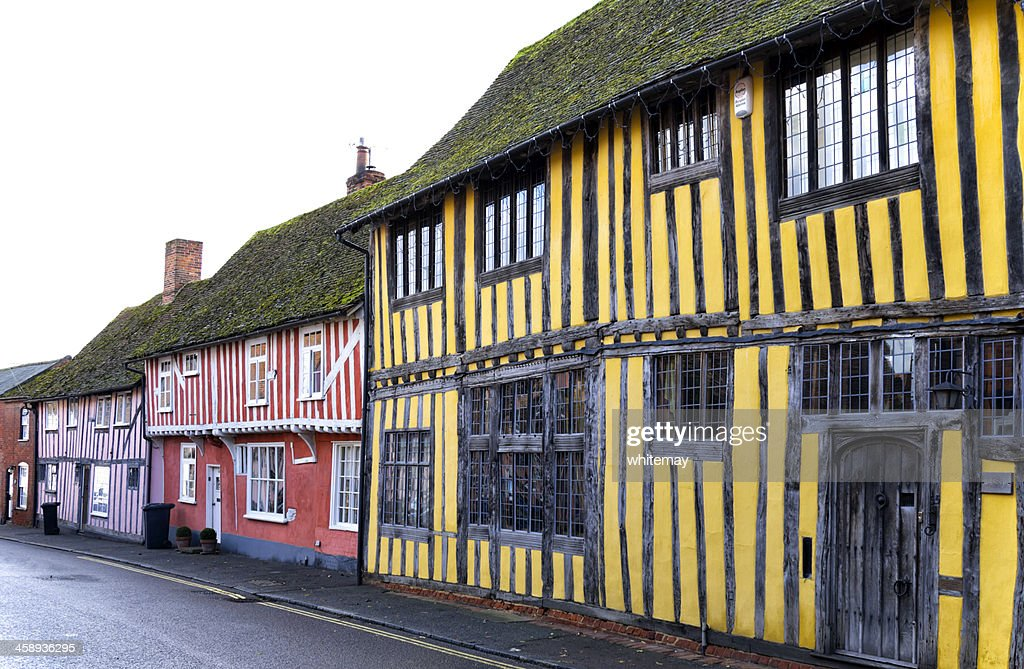 Coloridas casas en Lavenham antiguo : Foto de stock