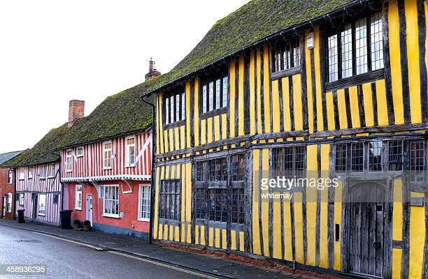 colourful old houses in lavenham - suffolk england stock photos and pictures