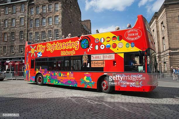 Colourful open top bus, Edinburgh, Scotland