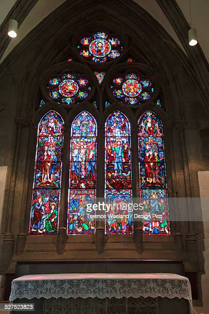 colourful ornate stained glass window - terence waeland stock pictures, royalty-free photos & images