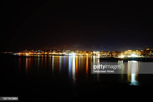 Colourful overview on Sliema and Spinola Bay Area at Night, Malta