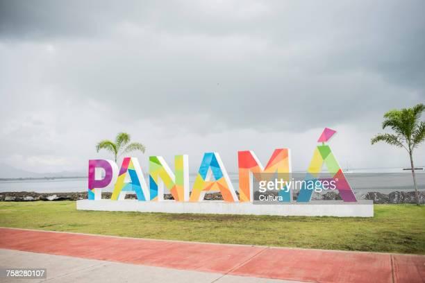 Colourful Panama sign on waterfront, Panama city, Panama