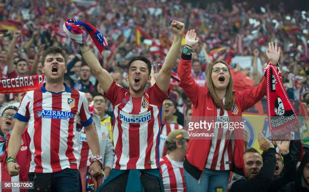 Colourful passionate Atletico Madrid fans during the UEFA Europa League Final between Olympique de Marseille and Club Atletico de Madrid at Stade de...