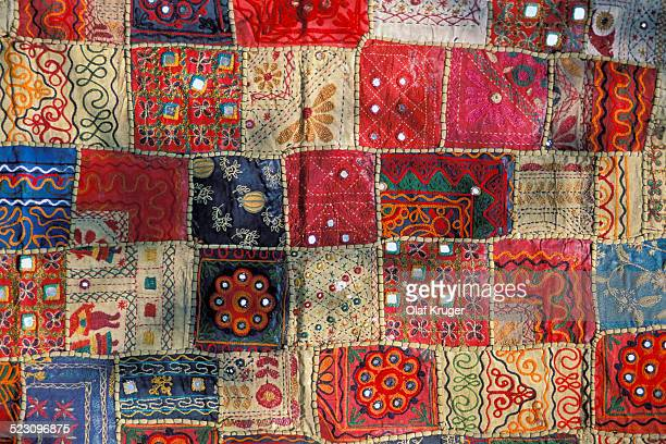 Colourful patchwork carpet with small mirrors, Rajasthan, India, Asia