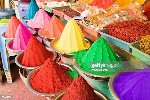 Colourful powders in mysore market