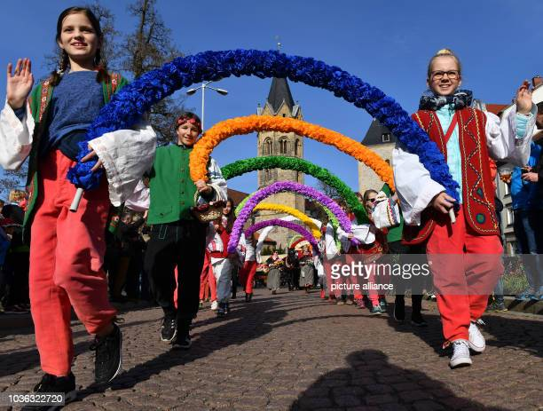 A colourful procession to celebrate the traditional spring festival in Eisenach Germany 25 March 2017 This year's theme is '500 years of reformation...