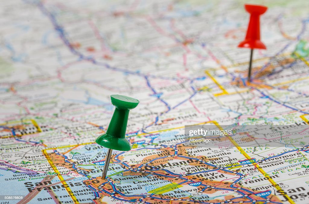Colourful Pushpins on a Map : Stockfoto