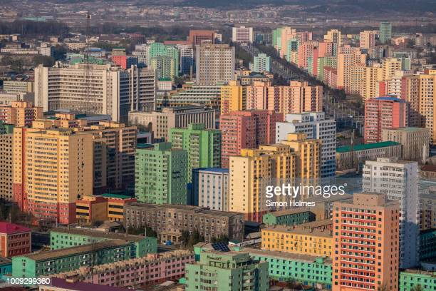 colourful pyongyang from the juche tower - communisme photos et images de collection