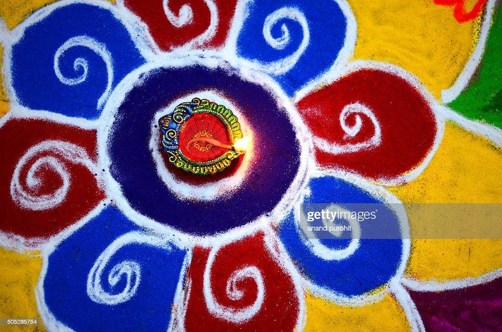 Colourful Rangoli with diya, Diwali Festival, India : Stock Photo