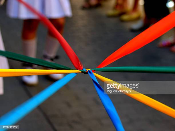 Colourful ribbons together