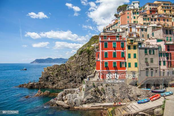 colourful riomaggiore - mediterranean sea stock pictures, royalty-free photos & images