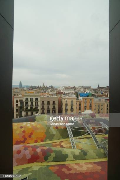 Colourful Rooftop of the Mercat de Santa Caterina, Barcelona, Spain