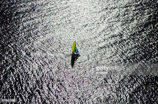 colourful sailboat and ocean - catamaran sailing stock photos and pictures