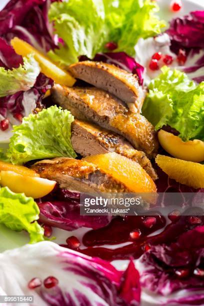 a colourful salad with duck breast, orange fillets and pomegranate seeds - canard photos et images de collection