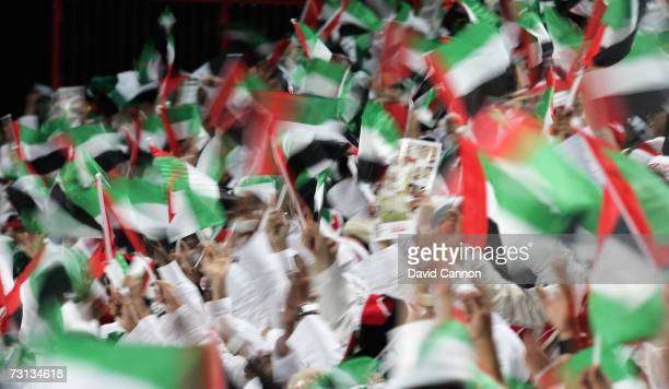 A colourful sea of United Arab Emirates fans at the end of the game after Ismaiel Mattar had scored his team's dramatic last minute winner in the...