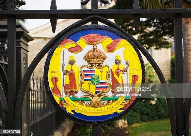 A Colourful Sign At Kawaiahao Church In Historic Downtown Honolulu; Honolulu, Oahu, Hawaii, United States Of America